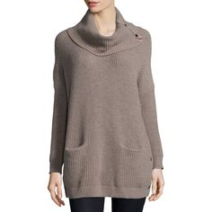 Neiman Marcus Long-Sleeve Cowl-Neck Chunky Pullover ($69) ❤ liked on Polyvore featuring tops, sweaters, heather brown, cowl neck sweater, long tops, long sleeve tops, pullover sweaters and long chunky sweater