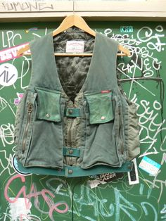 ZONE7STYLE: Vintage Chevignon Military Leather/Canvas Vest