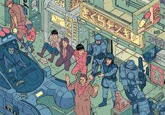 AKIRA、攻殻機動隊、さらにジブリなどの日本のアニメーション作品からトータルリコール、ブレイド、エイリアン、ロボコップなどのSF映画に至るまで、古今東西のSFやファンタジー作品に登場するキャラクターたちが...