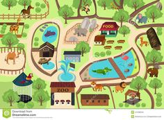 Buy Map of a Zoo Park by artisticco on GraphicRiver. A vector illustration of map of a zoo park. Vector illustration, zip archive contain eps 10 and high resolution jpeg. The Zoo, Zoo Project, Zoo Park, Trellis Wallpaper, Botanical Wallpaper, Zoo Architecture, Kids Zoo, Brewster Wallpaper, Maps For Kids