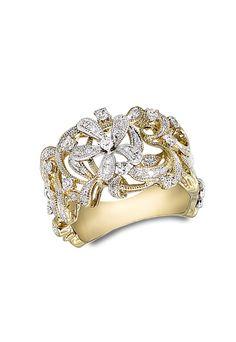 Effy Jewelry Moderna Diamond Floral Ring, 0.42 TCW