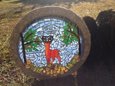 Mosaic stained glass deer.