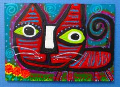Tracey Ann Finley Original Outsider Raw Folk ACEO Painting Red Stiped Cat Garden #OutsiderArt