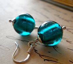 Deep Teal Earrings Peacock Sterling Silver Green Lampwork Glass Smooth Rounds