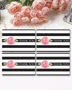 Floral Thank You Tags Striped Thank You Favor Tags by PapierCouture1