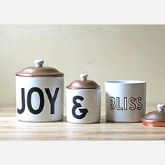 Joy And Bliss Canisters Set Of 3 now featured on Fab.