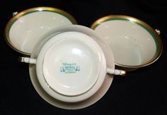 Similar to Heinrich & co Syracuse China, Soup Bowls, Cream Soup, Green Cream, Antique China, Ruby Lane, Ivory, Antiques, Tableware