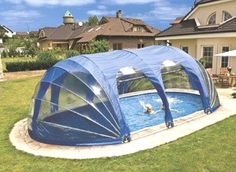 PowerDome is a fully portable and easy to move structure that encloses your pool or Jacuzzi. Made from clear and opaque PVC which is supported by a lightweight frame, one side folds into the other in a concertina-type movement. On the clear 'windows', strapping allows the windows and openings to be neatly rolled up and fastened in place, no zips required. PowerDome does not need to be secured to the pool's coping or Jacuzzi surrounds, however if there are children in the home, it is…