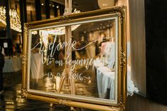 Gold frame with calligraphy for bride and groom's wedding sign // Rose Quartz and Serenity Blue Wedding Under a Canopy of Fairy Lights: Ron and Ming Hui