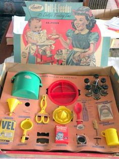 Vintage doll care items