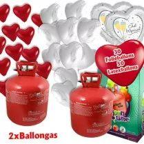 Ballongas Set XXL: 2 Heliumflaschen (50er) + Herzballons Folie/Latex