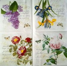 4 x single Vintage PAPER Lunch NAPKINS for Party 4 Lovely Flowers / DECOUPAGE
