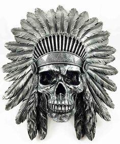 Indian Chief Skull Warrior Wall Hanging Figurine Home Decor Plaque Skeleton Indian Chief Tattoo, Indian Skull Tattoos, Cover Up Tattoos, Cool Tattoos, Skull And Bones, Native Art, Skull Art, Sleeve Tattoos, Street Art