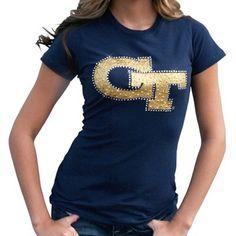 GaTech Georgia Tech Yellow Jackets Ladies Navy Blue Krista Premium T-shirt  Tech Football e1b9fae47
