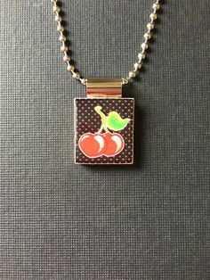 Cherry Scrabble Tile Pendant, recycled and handmade scrabble tile jewelry, cherry necklace, black and red cherry necklace, nature necklace by InSmallPackages on Etsy