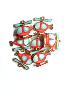 Enamel Helicopter Charm Pink and Light Blue 4pcs by KajaSupplies