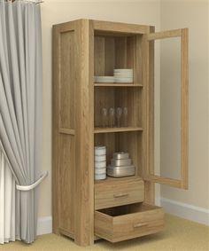 Atlas Oak Furniture - Glazed Display Cabinet (Single Door with Drawers) Oak Display Cabinet, Cabinet Drawers, Tall Cabinet Storage, Home Decor Furniture, Wooden Furniture, Dining Room Furniture, Glazing Furniture, Oak Sideboard, Diy Cabinets