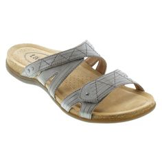 The soft adjustable strap hugs your foot in style as you journey through your day. Shop today for the most comfortable sandals available! Most Comfortable Sandals, Glass Slipper, Ankle Straps, Grey Leather, Hugs, Journey, Spring, Shop