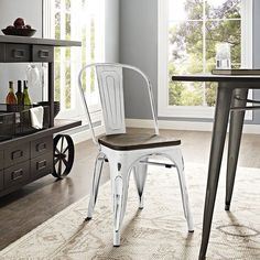 Promenade Bamboo Side Chair, White - Usher in eclectic decor with the Promenade chair. Complete with a vintage distressed finish and bamboo seat, Promenade exhibits the charm of the classic bistro while upgrading your breakfast nook or dining room with a modern piece that breathes exceptionalism to your room. Mix-and-match with a chair that transforms eating spaces and enlivens coffee time. Set Includes: One - Promenade Side Chair. Material: Distressing powder coated steel Laminated Bamboo…