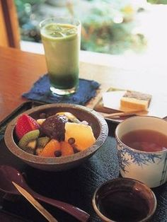 Japanese Afternoon Tea Time (Japanese traditional cold dessert, anmitsu)