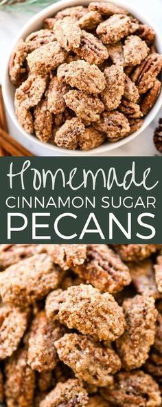 This homemade Cinnamon Sugar Pecans Recipe is made with only 6 ingredients & is WAY better than the nuts from the mall or fair! Plus, they're gluten & dairy-free & freezer-friendly! Make a batch, stor Pecan Recipes, Easy Cookie Recipes, Snack Recipes, Dessert Recipes, Desserts, Walnut Recipes, Sugared Pecans, Spiced Pecans, Cinnamon Roasted Pecans