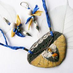 Parure raku ☼ les minoennes ☼ - mer egée -, céramique artisanale, bleu et jaune pièce unique de créateur.