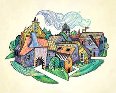 Giclee print of an original illustration: Our Town, a colorful village of medieval buildings, 8x10