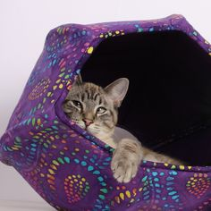 Cat Ball Kitty Cave Bed in Purple Batik by TheCatBall on Etsy