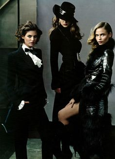 Natalya G, Natasha Poly and Bianca Balti in clothes designed by Roberto Cavalli (2005)