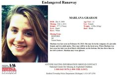 2/7/2013: Please share to locate Marlana Graham (13) missing from REDFORD, MICHIGAN since 2/3/201... pinned with Pinvolve