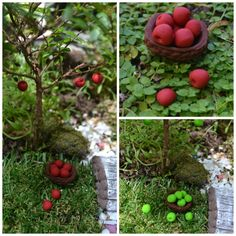 Handmade minature apples and basket for a Fairy Garden!