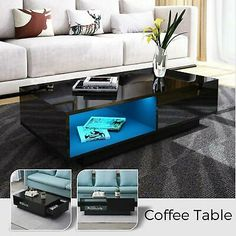HIGH GLOSS BLACK Coffee Table with LED Lighting - Tiffany Range TIFF010 - £229.97 | PicClick UK Mirrored End Table, Mirrored Coffee Tables, Black Coffee Tables, Coffee Table Rectangle, Bedside Lamps Uk, Coffee Table High Gloss, Glass Candlestick Holders, Glass Side Tables
