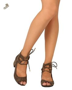 Qupid FD85 Women Faux Suede Peep Toe Perforated Gilly Tie Chunky Heel Pump - Khaki (Size: 8.0) - Qupid pumps for women (*Amazon Partner-Link)
