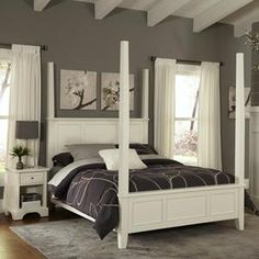 Naples Nightstand and King Poster Bed in White