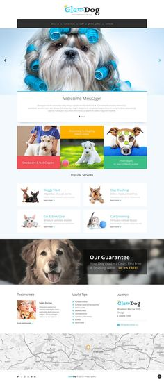 Dog Grooming Website Template is a pre-designed layout that has been specifically developed to be suited for particular businesses. Friendly, cheerful and bright, it looks very appealing. Photo ric...