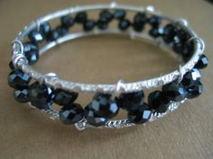 Wire wrapped bangle bracelets with black double by LeeliaDesigns, $12.00