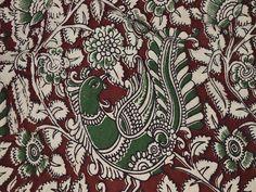 Kalamkari Indian block print KalamKari fabric by yards Upholstery and Dresses Cotton Fabric - Vegetable Dyed Kalamkari Pattern