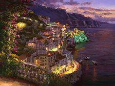 lights of amalfi sam park art suite regioni d'italia Landscape Art, Landscape Paintings, Art Paintings, Mediterranean Paintings, Mediterranean Sea, Decoupage, Park Art, Painting Services, Fine Art