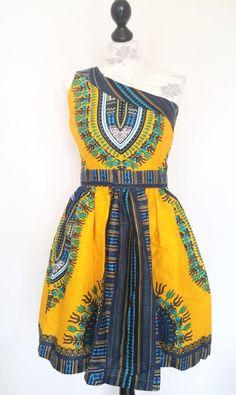 Colorful one shoulder african mini wax print dress von Urban-Apparel auf DaWanda.com