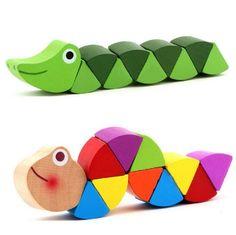 El Cocodrilo colorido Orugas Puzzles Niños Juguetes Educativos De Madera Del Bebé Niños Juguete Educativo de Formación Flexibles Dedos
