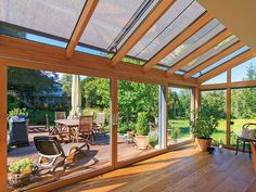 Garden room with veranda Wintergarten als Traumplatz Glass Extension, Enclosed Patio, Chinese Garden, Outdoor Living, Outdoor Decor, Winter Garden, Backyard Patio, Garden Design, New Homes