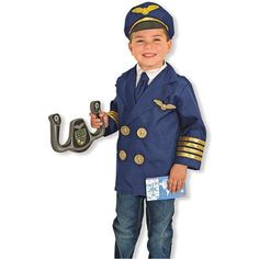 Pilot Dress Up Set - Imagine Toys  Pilot Dress Up Set Includes: pilot jacket with shirtfront and detachable necktie, hat, flight wings, steering yoke and reusable flight checklist.  Flight attendants, secure the cabin for departure!