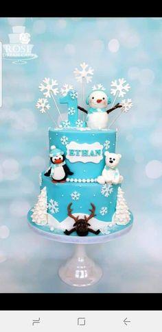 Winter Wonderland Birthday Cake by Rose Winter Wonderland Birthday Cake von Rose First Birthday Winter, Winter Birthday Parties, Baby Boy First Birthday, 1st Birthday Cakes, Christmas Birthday Cake, Birthday Ideas, Epiphany Cake, Winter Torte, Winter Cakes