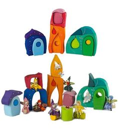 Wooden Fairy-Tale Block/Puzzle Set Handmade in Germany, 17 Pieces for frances? Grimm's Toys, Kids Toys, Fairy Village, Natural Toys, Woodworking Toys, Waldorf Toys, Wooden Projects, Wood Toys, Wooden Diy