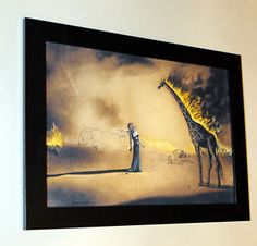 Salvador Dali  Burning Giraffe  Canvas Print Framed Giclee 6 8x8 8 | eBay