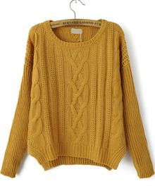 Mustard Cable Knit Sweater   Sheinside.com