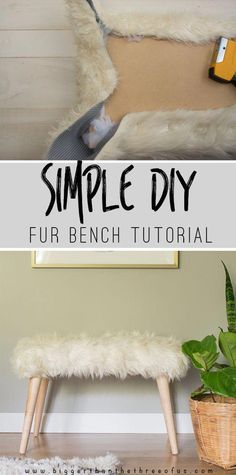 Make this Simple DIY Fur Bench for a fraction of the cost of buying one! Make this Simple DIY Fur Bench for a fraction of the cost of buying one! Make this Simple DIY Fur Bench for a fraction of the cost of buying one! Easy Home Decor, Cheap Home Decor, Diy Room Decor, Bedroom Decor, Bedroom Ideas, Budget Bedroom, Diy Decorations For Home, Bench For Bedroom, Bedroom Shelves