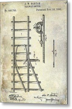 3O X 40 1890 Railway Switch Patent Drawing Metal Print By Jon Neidert- LOBBY