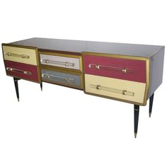 BATHROOM VANITY?    1960s Rare Italian Playful Sideboard/Console with Six Drawers | 1stdibs.com