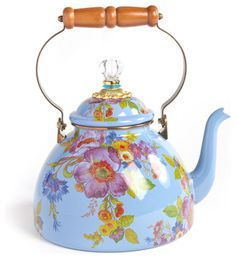 Flower Market Enamel 3 Quart Tea Kettle - Blue | MacKenzie-Childs eclectic cookware and bakeware